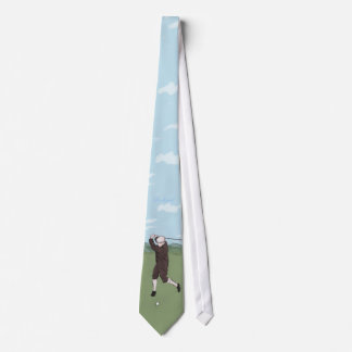 Hand drawn and painted golfer neck tie