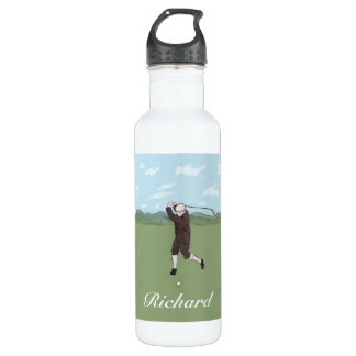 Hand drawn and painted golfer stainless steel water bottle