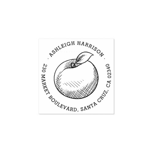 Hand_drawn Apple  Round Name  Return Address Rubber Stamp