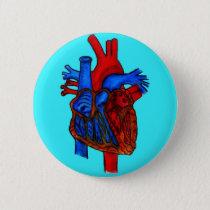 Hand Drawn Aqua Anatomical Heart Button
