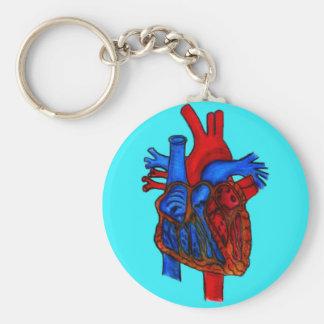Hand Drawn Aqua Anatomical Heart Keychain