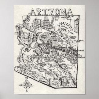Hand Drawn Arizona Map | Poster