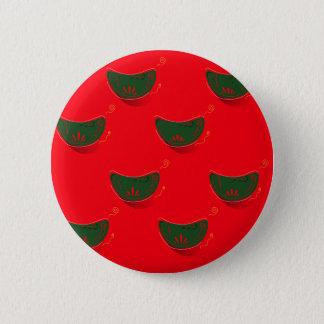 Hand drawn Art Illustration : Mandarins green red Button
