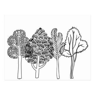 Hand Drawn Art Print Tree Design Customizable Postcard
