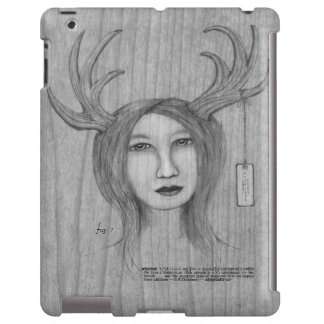 Hand drawn Atypical Beautiful Antler Girl Pencil