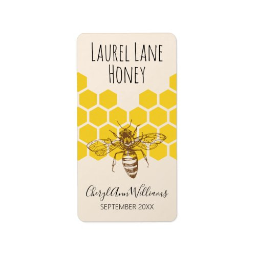 Hand-Drawn Bee Signature Series Apiary Product Label