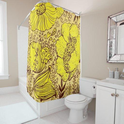 Hand Drawn Beige Yellow Brown Vintage Flowers Shower Curtain Zazzle