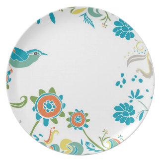 Hand-drawn Bird in the Garden Party Plate