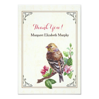 Hand-Drawn Bird Personalized Thank You Card