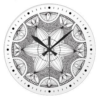 Hand Drawn Black and White Mandala Clock