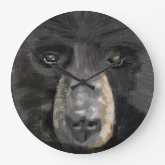 Hand drawn black bear image. large clock