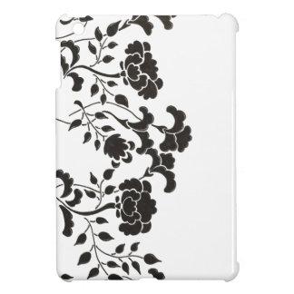 Hand drawn black flower garden on white case for the iPad mini