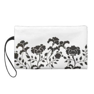 Hand drawn black flower garden on white wristlet purse