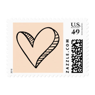 Hand-Drawn Black Heart Love Pink Peach Wedding Stamp