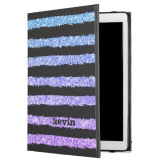 "Hand Drawn Black Stripes Over Colorful Glitter iPad Pro 12.9"" Case"
