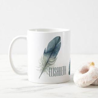 Hand drawn blue gray watercolor feather coffee mug