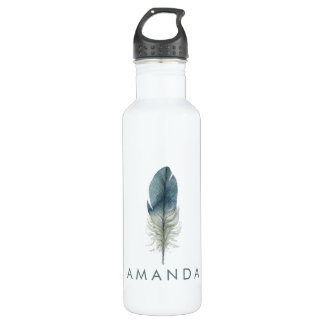 Hand drawn blue gray watercolor feather water bottle