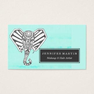 Hand Drawn Bohemian Tangle Elephant Aqua Tie Dye Business Card