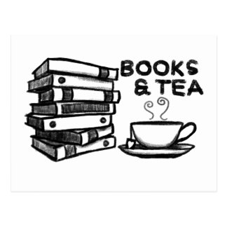 Hand drawn Books & Tea Postcard