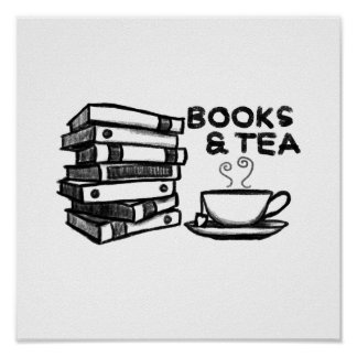 Hand drawn Books & Tea Poster
