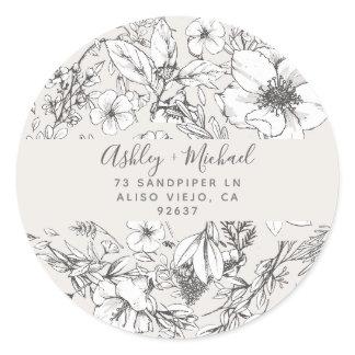 HAND-DRAWN BOTANICAL Stylish Modern Blush Floral Classic Round Sticker