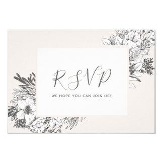 HAND-DRAWN BOTANICAL Stylish Modern Blush Floral Invitation
