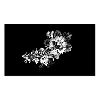 Hand drawn bouquet of flowers realistic black Double-Sided standard business cards (Pack of 100)
