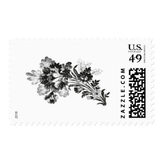 Hand drawn bouquet of flowers realistic black postage