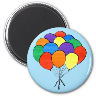 Hand Drawn Bunch of Rainbow Colored Balloons Magnet
