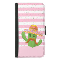 hand drawn cactus with stripes background samsung galaxy s5 wallet case