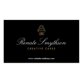 HAND-DRAWN CAKE LOGO IN GOLD II FOR BAKERY or CHEF Business Card