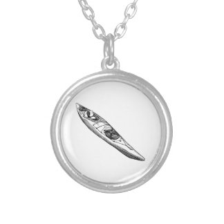 Hand Drawn Canoe Silver Plated Necklace