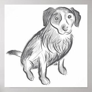 Hand drawn Cattle dog art, blue heeler dog poster