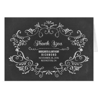 hand drawn chalkboard wedding thank you cards