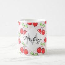Hand Drawn Cherries, Pink Fruit Pattern Coffee Mug
