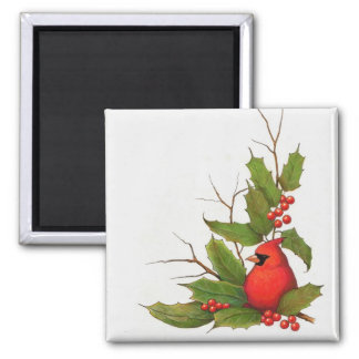 Hand-Drawn Christmas Illustration: Holly, Cardinal Fridge Magnets