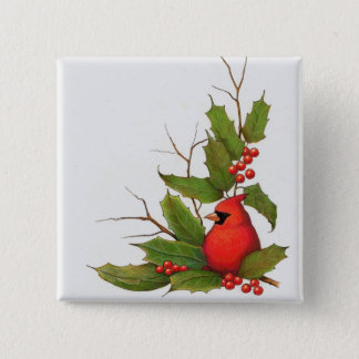 Hand-Drawn Christmas Illustration: Holly, Cardinal Pinback Button