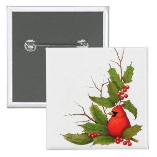 Hand-Drawn Christmas Illustration: Holly, Cardinal Pinback Button