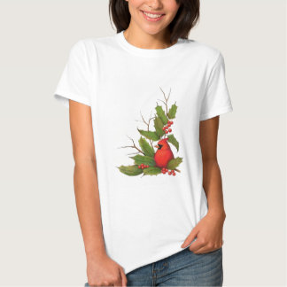 Hand-Drawn Christmas Illustration: Holly, Cardinal Shirt