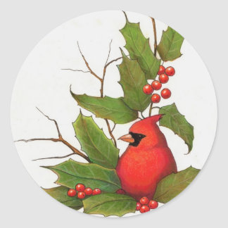 Hand-Drawn Christmas Illustration: Holly, Cardinal Sticker