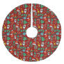 Hand Drawn Christmas Pattern Brushed Polyester Tree Skirt