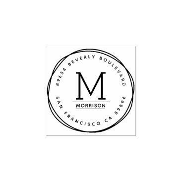 invintage Hand-drawn Circles | Custom Initial Return Address Rubber Stamp