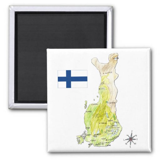 Hand Drawn Color Map of Finland 2 Inch Square Magnet