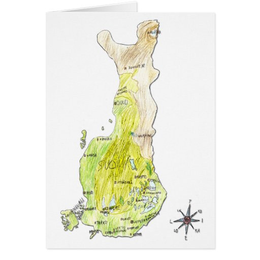 Hand Drawn Color Map of Finland Greeting Card