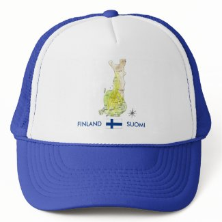 Hand Drawn Color Map of Finland Hat hat