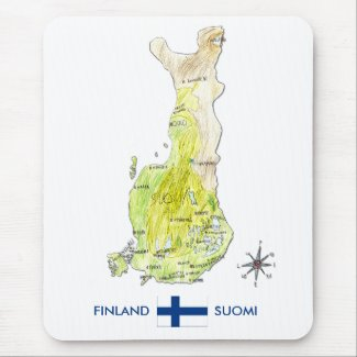Hand Drawn Color Map of Finland Mousepad mousepad