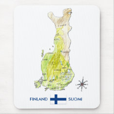 Hand Drawn Color Map Of Finland Mousepad at Zazzle