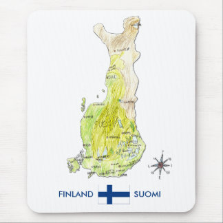Hand Drawn Color Map of Finland Mousepad