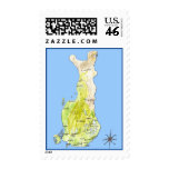 Hand Drawn Color Map of Finland Postage Stamp