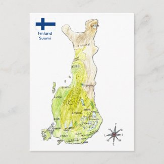 Hand Drawn Color Map of Finland Postcard postcard